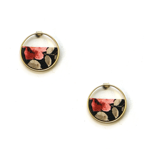 Earring 1823d 75 Tres Jolie stud floral earrings leather circle black