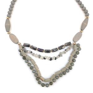 Necklace 045a 76 Make A Wish wood bead stone contemporary bib gray white multi