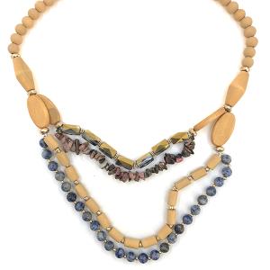 Necklace 052s 76 Make A Wish wood bead stone contemporary bib brown blue multi