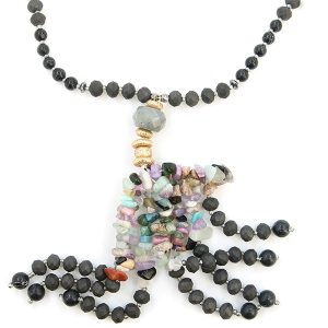 Neckalce 134y 76 Make A Wish Semi Precious bead stone tassel black multicolor