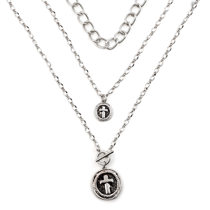 Necklace 1614g 77 Pomina triple layer cross toggle necklace silver