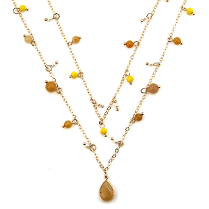 Necklace 562b 77 Pomina double layer semi precious stone accent tear drop necklace gold yellow
