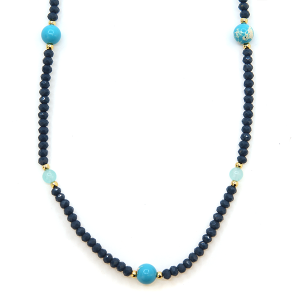 Necklace 453e 77 Pomina contemporary bead necklace blue