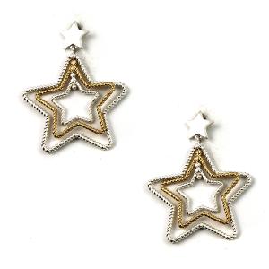 Earring 075x 77 Pomina star dangle stud earrings gold silver