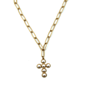 Necklace 1108b 77 Pomina chain bead cross necklace gold