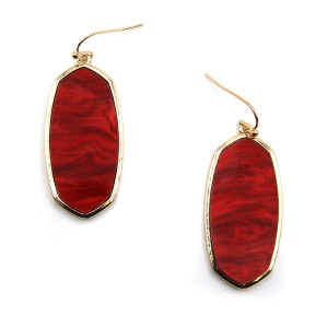 Earring 5290a 77 Pomina contemporary resin hex marble earrings red