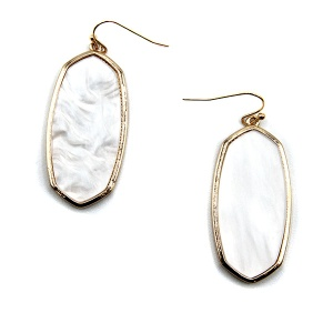 Earring 5204a 77 Pomina contemporary resin hex marble earrings white