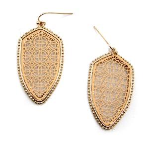 Earring 5553 77 Pomina contemporary filigree shield earrings gold nude