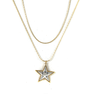 Necklace 953c 77 Pomina string star necklace gold silver