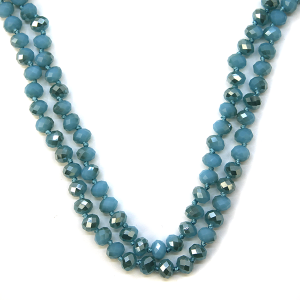 Necklace 1185 77 Pomina 30-60 inch bead necklace aqua blue