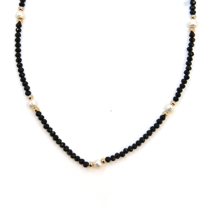 Necklace 268b 77 Pomina short collar bead necklace pearl black gold
