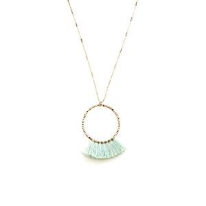 Necklace 354 78 A Project hoop fringe fan contemporary mint