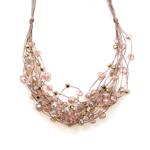 Necklace 408 78 A Project string bead accents pink