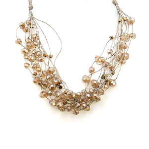 Necklace 418a 78 A Project string bead accents champagne