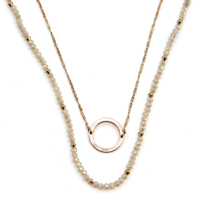 Necklace 242a 78 A Project double layer bead chain circle pendant contemporary necklace ivory