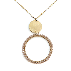 Necklace 131a 78 A Project chain beaded hoop necklace ivory
