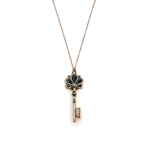 Necklace 1002 01 CiTY floral key pendant gold patina