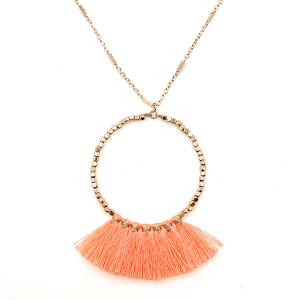 Necklace 2134 78 A Project hoop fringe fan contemporary neon orange