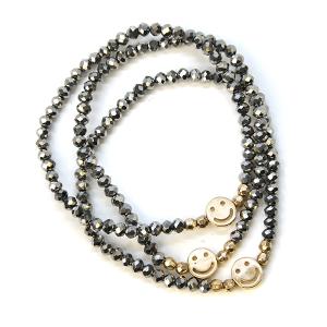 Bracelet 340 78 A Project bracelet stack bead smile hematite