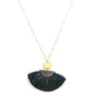 Necklace 2104a 78 A Project tassel necklace fringe fan teal