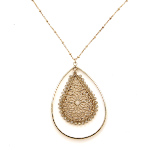 Necklace 2070 78 A Project contemporary tear drop filigree necklace ivory