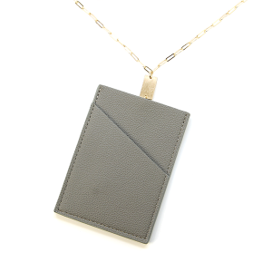 Necklace 836b 78 A Project ID Card Holder Necklace leather gray