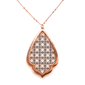 Necklace 680b 78 A Project contemporary filigree necklace tear drop rose gold