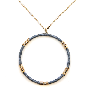 Necklace 2122a 78 A Project contemporary hoop necklace gray