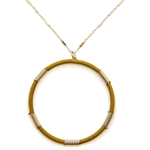 Necklace 2126a 78 A Project contemporary hoop necklace mustard