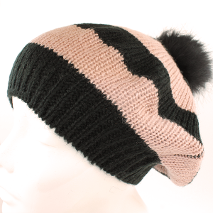 Winter Cap 044 Hatter High Back Drape slouch pom pom Beanie stipe black pink