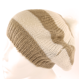 Winter Cap 043 Hatter High Back Drape slouch pom pom Beanie stipe tan ivory