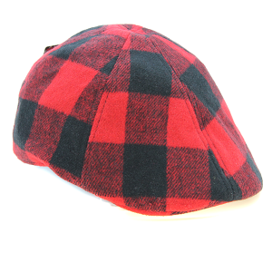 Cap 019g 21 Hatter Plaid Flat Cap Red Black