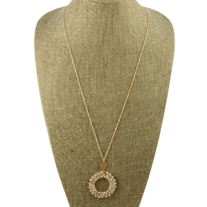 Necklace 798a 82 Avant beaded round hoop champagne