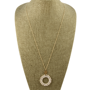 Necklace 800d 82 Avant beaded round hoop natural white