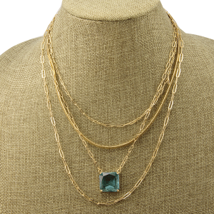 Necklace 1174h 82 Avant 4 layer chain square gem turquoise