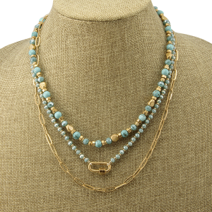 Necklace 1129j 82 Avant 3 layer bead carabiner turquoise