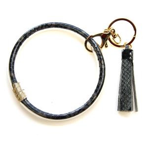 Keychain 198 82 Avant snake print wrist keychain tassel gray