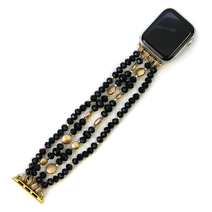 Watch Band 090a 82 Avant contemporary stretch bead watch band 38mm 40mm black