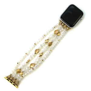 Watch Band 062f 82 Avant contemporary stretch bead watch band 38mm 40mm white