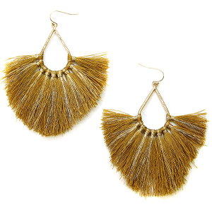 Earring 2997a 82 Avant contemporary tassel earrings tear drop gold accent mustard