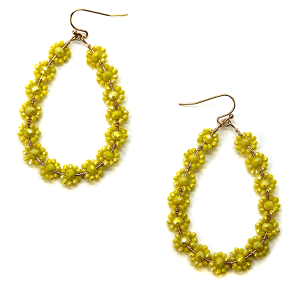 Earring 2989a 82 Avant tear drop earrings flower beads yellow