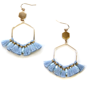 Earring 2713d 82 Avant contemporary hex drop tassel earrings blue
