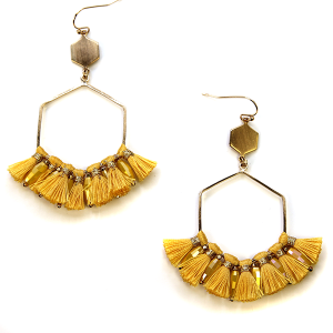 Earring 2807d 82 Avant contemporary hex drop tassel earrings yellow