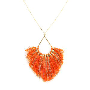 Necklace 1013 82 Avant fringe fan tear drop contemporary necklace orange
