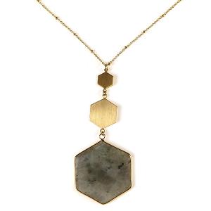 Necklace 579 82 Avant contemporary hex pendant necklace gray