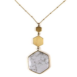 Necklace 804 82 Avant contemporary hex pendant necklace white