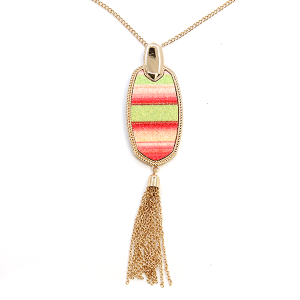 Necklace 2236 83 Elan hex stripe multicolor tassel necklace neon multicolor