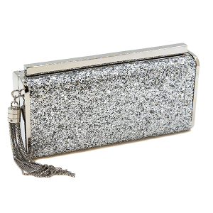 Bella Collection 8412 hard case evening bag glitter silver