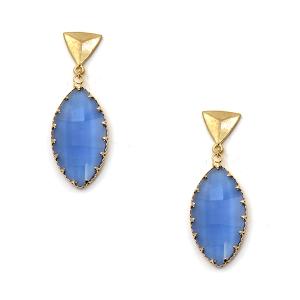 Earring 678k 84 Avant oval drop dangle stud gem earrings blue