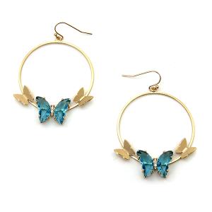Earring 4179a 84 Avant hoop dangle butterfly gem earrings aqua